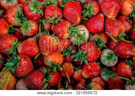 Strawberries. Background From Fresh Strawberries, Red Strawberries. Strawberries At Market. Strawber