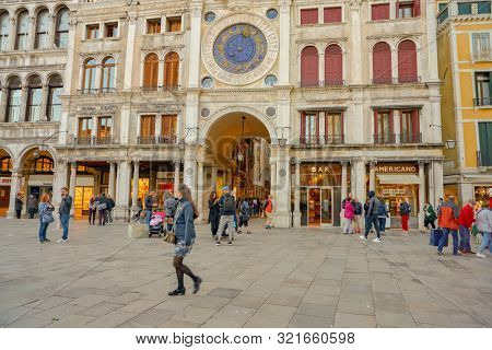 VENICE, ITALY - CIRCA MAY, 2019: view of the Clocktower with the archway into the Mercerie leading to the Rialto in Venice.