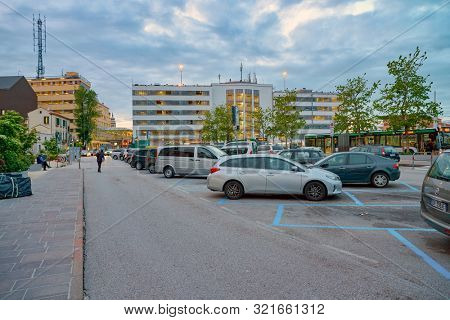 VENICE, ITALY - CIRCA MAY, 2019: cars parked at Piazzale Roma parking in Venice.