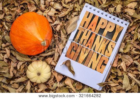 happy thanksgiving greeting card - letterpress wood type lettering in a sketchbook against dry fall leaves with ornamental gourd
