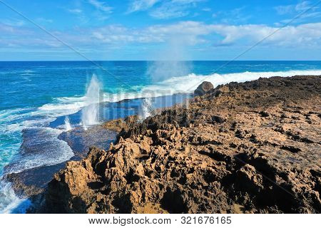 Aerial View Of Quobba Blowholes And The Beautiful Rugged Coast.