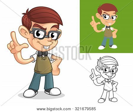 Happy Geek Boy Teasing With Demeaning Hand Gesture Or Loser Sign Cartoon Character Mascot Illustrati