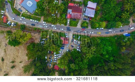 Aerial View Of The Batu Manikar Village With Houses & Street In Labuan,malaysia.the Famous United Na