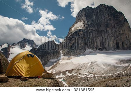 Applebee Campground By The Snowpatch Mountain In Bugaboos Provincial Park In Bc, Canada