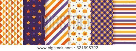 Halloween Seamless Pattern. Haloween Textile Print. Vector. Geometric Background With Pumpkin Face,