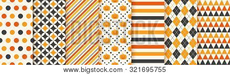 Halloween Pattern. Seamless Haloween Background. Vector. Texture With Pumpkin Face, Triangle, Polka