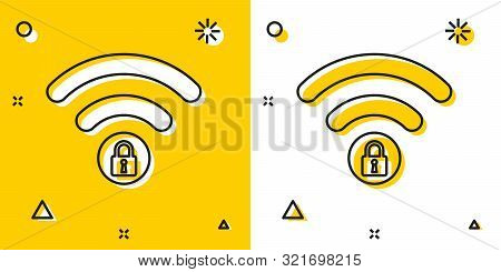Black Wifi Locked Sign Icon Isolated On Yellow And White Background. Password Wi-fi Symbol. Wireless