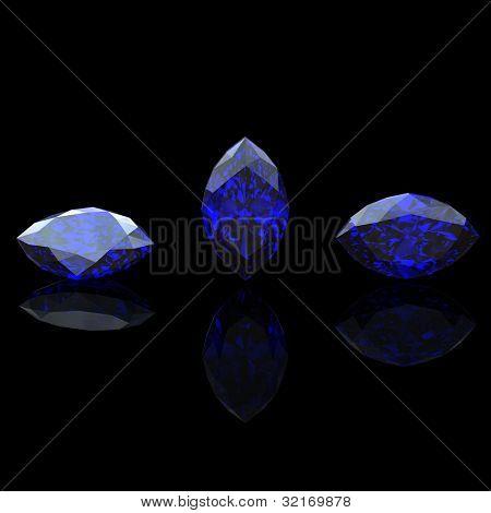Blue gemstone of marquis shape on  black  background.  Benitoit. Sapphire. Iolite.Tanzanite