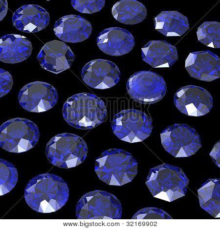 Round blue gemstone isolatedon black  background.  Benitoit. Sapphire. Iolite.Tanzanite