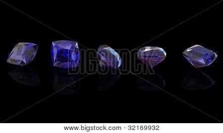 Blue gemstone of Square shape on  black  background.  Benitoit. Sapphire. Iolite.Tanzanite