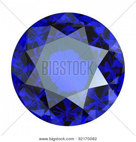 Round blue gemstone isolated on white background.  Benitoit. Sapphire. Iolite.Tanzanite