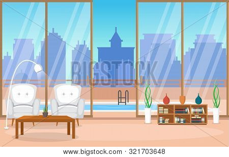Luxury Deluxe Living Room Penthouse Apartment Interior Furniture Vector Illustration