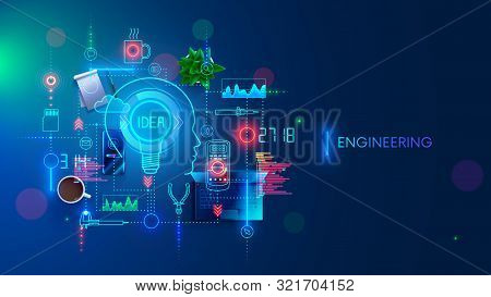 Engineering Idea Concept. Electronic Devices Development. Technology Creation And Design Industrial