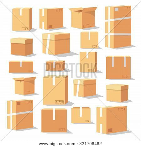 Set Of Isometric Cardboard Boxes. Delivery Box Package. Different Cardboard Boxes Isolated On White.