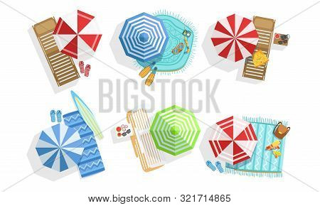 Collection Of Sunny Parasols, Chaise Lounges And Towels, Summer Beach View From Above Vector Illustr