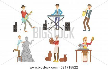 People Of Creative Professions Set, Musicians With Musical Instruments, Sculptor, Ceramist, Seamstre
