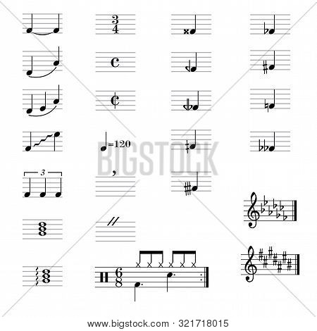 Set Of Musical Symbols , Elements Of Musical Symbols, Icons And Annotations.