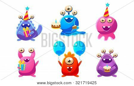 Collection Of Cute Funny Colorful Monsters Cartoon Characters, Birthday Party Design, Happy Mutants