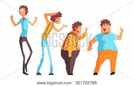 Funny Eccentric Men Set, Poet, Artist Or Professor Cartoon Characters With Bow Tie Vector Illustrati