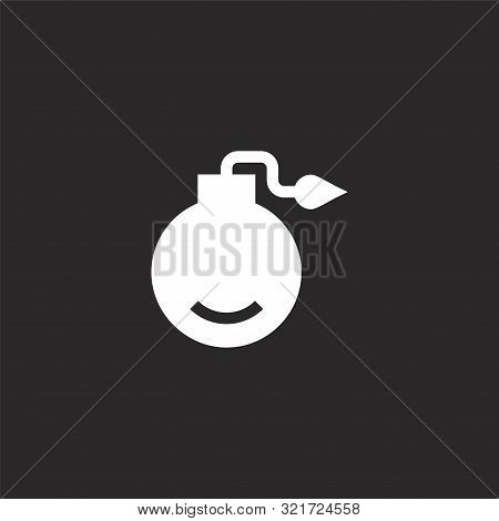 Bomb Icon. Bomb Icon Vector Flat Illustration For Graphic And Web Design Isolated On Black Backgroun