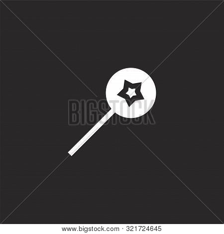 Lollipop Icon. Lollipop Icon Vector Flat Illustration For Graphic And Web Design Isolated On Black B