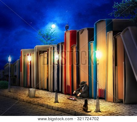 Reading Concept. Fantasy. Stack Of Book As Buildings On A Street With Streetlight In Night. 3d Illus