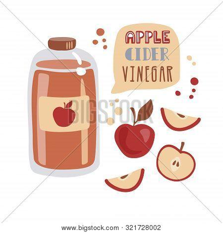 Vector Illustration Apple Cider Vinegar In Trendy Flat Style. Tall Glass Bottle With Fermented Vineg