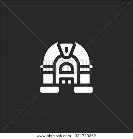 Jukebox Icon. Jukebox Icon Vector Flat Illustration For Graphic And Web Design Isolated On Black Bac