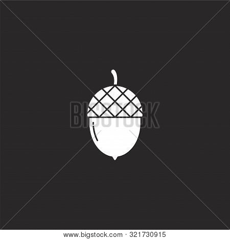 Acorn Icon. Acorn Icon Vector Flat Illustration For Graphic And Web Design Isolated On Black Backgro