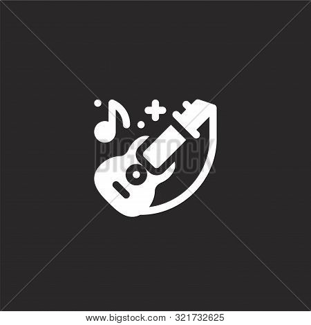 Acoustic Guitar Icon. Acoustic Guitar Icon Vector Flat Illustration For Graphic And Web Design Isola