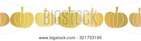 Gold Foil Pumpkins Seamless Vector Border. Repeating Hand Drawn Metallic Golden Pumpkin Silhouettes.