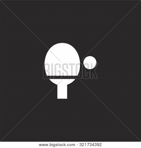 Ping Pong Icon. Ping Pong Icon Vector Flat Illustration For Graphic And Web Design Isolated On Black