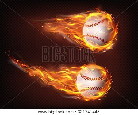 Firing, Flying Engulfed In Flames Baseball Balls 3d Realistic Vector Illustration Isolated On Transp