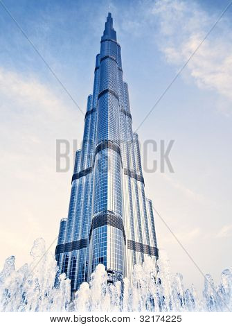 DUBAI, UAE - FEBRUARY 16: Burj Khalifa - world's tallest tower in the world at 828 m, located in Downtown Dubai, Burj Dubai on February 16, 2012 in Dubai, United Arab Emirates
