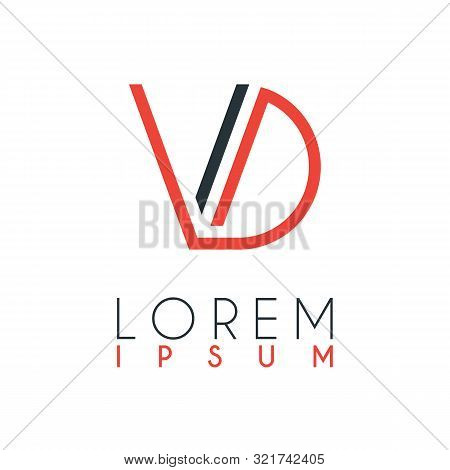 The Logo Between The Letter V And Letter D Or Vd With A Certain Distance And Connected By Orange And
