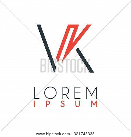 The Logo Between The Letter V And Letter K Or Vk With A Certain Distance And Connected By Orange And
