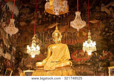 poster of Row of Golden Buddha in Thailand. Golden Buddha statues at Temple of the Emerald Buddha, Wat Phra Kaew.