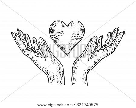 Hands And Heart Symbol Blood Donation Sketch Engraving Vector Illustration. Tee Shirt Apparel Print
