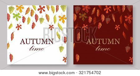 Autumn Leaves Banners Set With White And Burgundy Fall Background Vector Illustration. Yellow, Orang