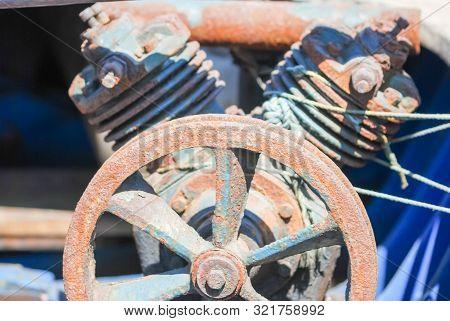 V-twin Two Cylinder Old Engine Motor Close Up.