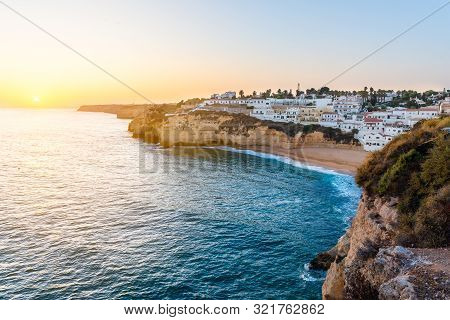 View Of Carvoeiro City In Algarve, Portugal.