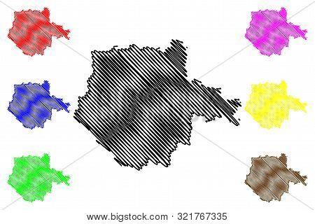 South Bohemian Region (bohemian Lands, Czechia, Regions Of The Czech Republic) Map Vector Illustrati