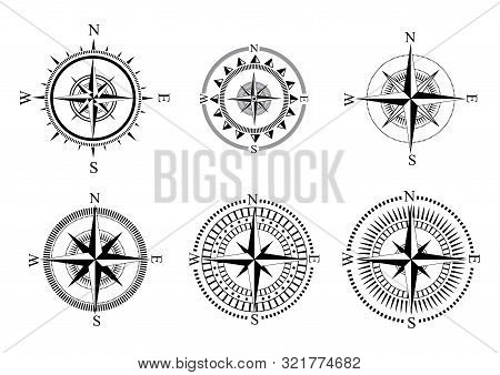 Collection Of Logos Of The Compass. Stylized Sea Compasses With A Wind Rose. Measuring Device. Black