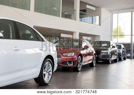 Russia, Izhevsk - September 11, 2019: Audi Showroom. New Prestigious Cars In Dealer Showroom.