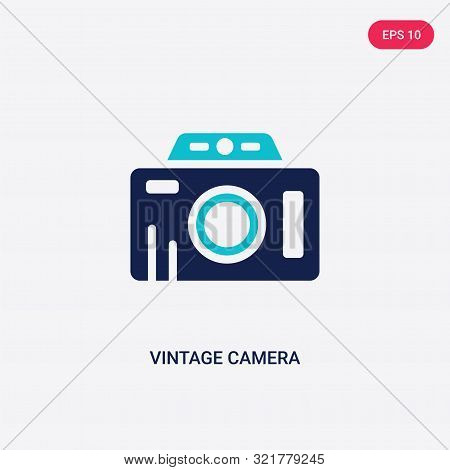 Two Colored Vintage Camera Vector Icon From Airport Terminal. 2 Color Vintage Camera Concept. Blue V
