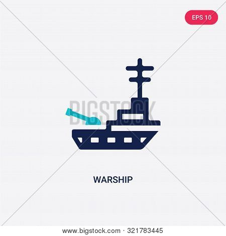 two colored warship vector icon from army and war.