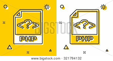Black Php File Document. Download Php Button Icon Isolated On Yellow And White Background. Php File