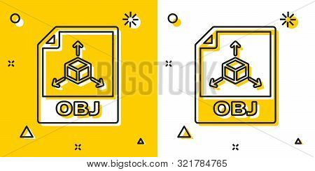 Black Obj File Document. Download Obj Button Icon Isolated On Yellow And White Background. Obj File