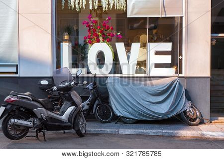 Love Theme Grange Photo. Shop, Cafe, Cafeteria Front View. Valentines Day In Grange Style. Love Conc