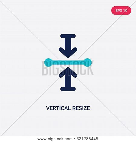 two colored vertical resize vector icon from arrows.